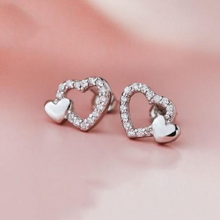 Sweet Hollow Heart-Shaped 925 Silver Fashion Temperament Earrings