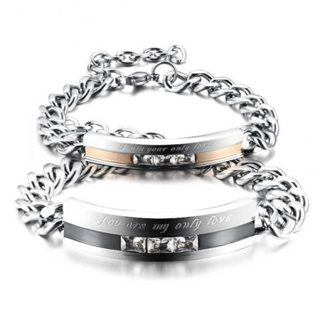 You Are My Only Love Titanium Steel CZ Inlaid Couple Bracelets (Price For A Pair)