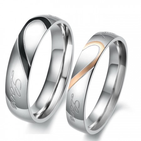 Love Theme Romantic Match Heart Titanium Steel Lover Rings Engravable (Price For a Pair)