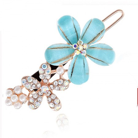 1Pcs Fashion Girls Women Crystal Rhinestone Flower Barrette Hair Clip Hairpin