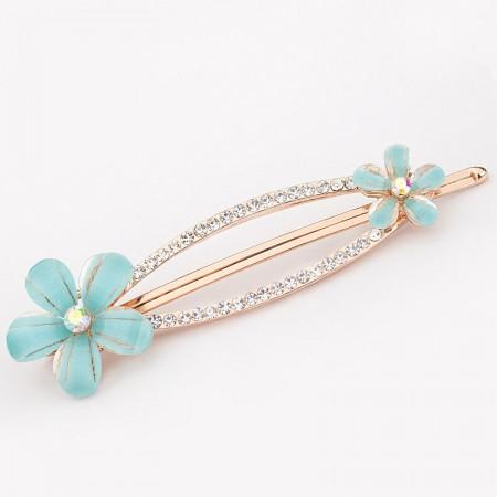 1Pcs Fashion Girls Women Crystal Rhinestone Plum Flower Barrette Hair Clip Hairpin