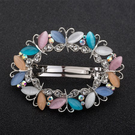 1Pcs Fashion Girls Women Crystal Rhinestone Butterfly Opal Silver Plated Barrette Hair Clip Hairpin Hollow Clamp