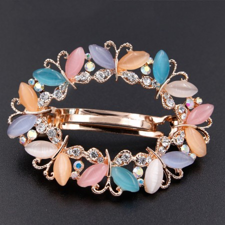 1Pcs Fashion Girls Women Crystal Rhinestone Butterfly Opal Gold Plated Barrette Hair Clip Hairpin Hollow Clamp