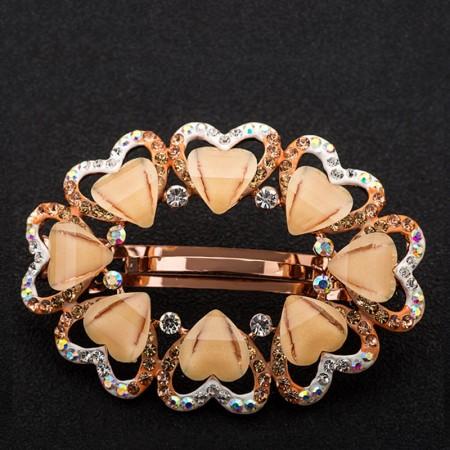 1Pcs Fashion Girls Women Crystal Rhinestone Heart-Shaped Barrette Hair Clip Hairpin Hollow Clamp