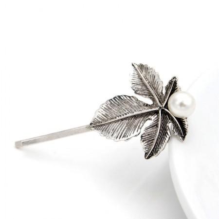1Pcs Fashion Girls Women Leaves-Shaped Pearl Barrette Hair Clip Hairpin Hollow Clamp