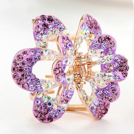 1Pcs Fashion Korean Beauty Girls Women Crystal Butterfly Rhinestone Barrette Claw Hair Clip Hairpin