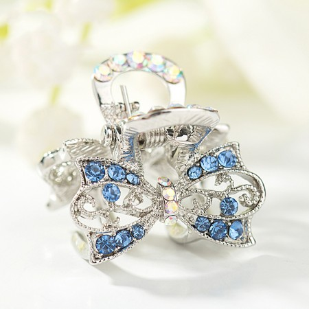 1Pcs Fashion Sweet Girls Women Crystal Rhinestone Silver-Plated Bow-Knot Barrette Claw Hair Clip Hairpin