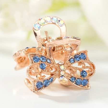 1Pcs Fashion Sweet Girls Women Crystal Rhinestone Bow-Knot Barrette Claw Hair Clip Hairpin