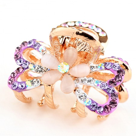 1Pcs Fashion Sweet Girls Women Crystal Rhinestone Gold-Plated Opal Bow-Knot Barrette Claw Hair Clip Hairpin