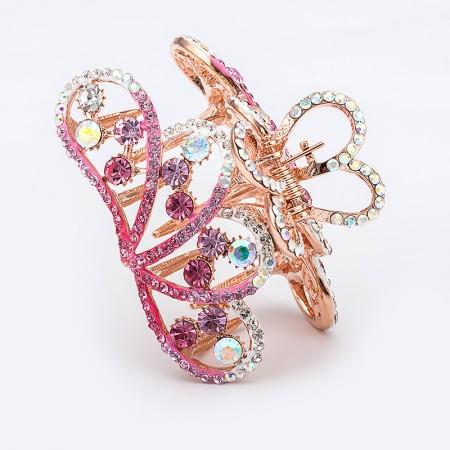 1Pcs Fashion Sweet Girls Women Crystal Rhinestone Gold-Plated Crown Barrette Claw Hair Clip Hairpin