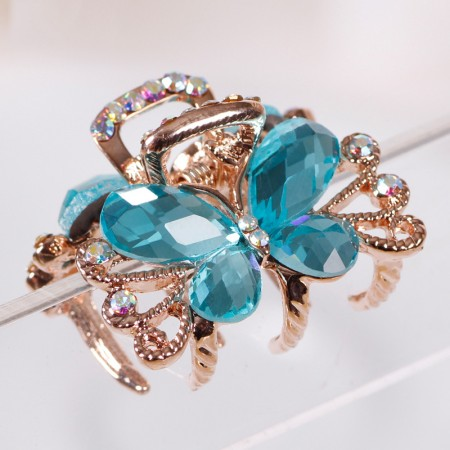 1Pcs Fashion Sweet Girls Women Crystal Rhinestone Gold-Plated Butterfly Barrette Claw Hair Clip Hairpin