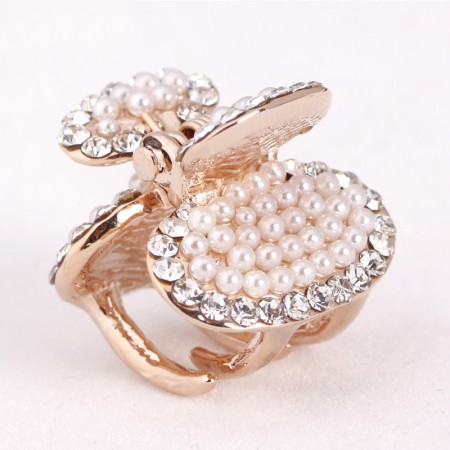 1Pcs Fashion Sweet Girls Women Crystal Rhinestone Gold-Plated Pearl Barrette Claw Hair Clip Hairpin