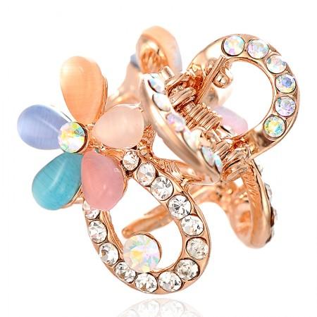 1Pcs Fashion Sweet Girls Women Crystal Rhinestone Gold-Plated Opal Flower Barrette Claw Hair Clip Hairpin