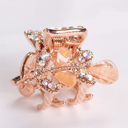 1Pcs Fashion Sweet Girls Women Crystal Rhinestone Gold-Plated Barrette Claw Hair Clip Hairpin