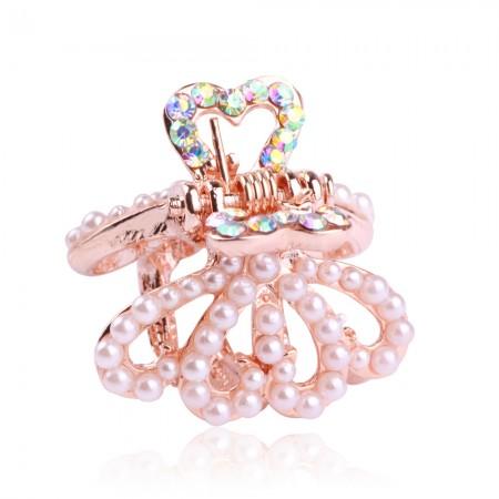 1Pcs Fashion Sweet Girls Women Crystal Rhinestone Gold-Plated Pearl Barrette Claw Hair Clip Hairpin