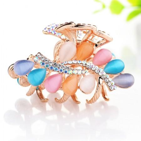 1Pcs Fashion Sweet Girls Women Crystal Rhinestone Gold-Plated Opal Barrette Claw Hair Clip Hairpin