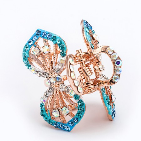 1Pcs Fashion Sweet Girls Women Crystal Rhinestone Gold-Plated Bow-Knot Barrette Claw Hair Clip Hairpin