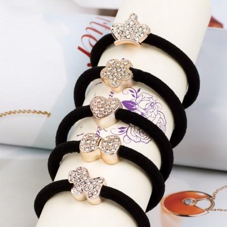 5Pcs Fashion Sweet Girls Women Rhinestone High Elasticity Headbands Hair Rope