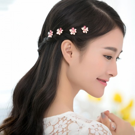 4pcs Lovely Charm Wedding Bridal Party U-Shaped Flower Hair Pins Clips Grips Pins Hairpins Bridesmaid Clips
