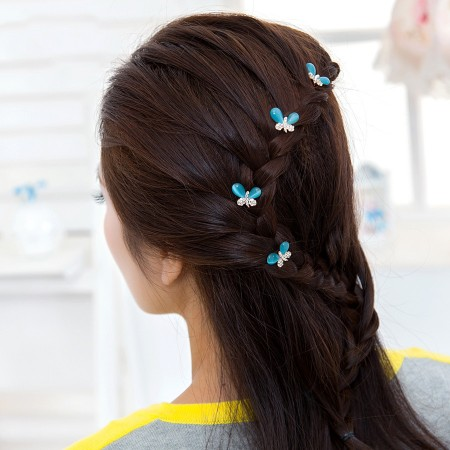 2pcs Lovely Charm Wedding Bridal Party U-Shaped Butterfly Hair Pins Clips Grips Pins Hairpins Bridesmaid Clips