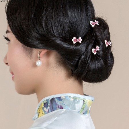 4pcs Lovely Charm Wedding Bridal Party U-Shaped Bow-Knot Hair Pins Clips Grips Pins Hairpins Bridesmaid Clips