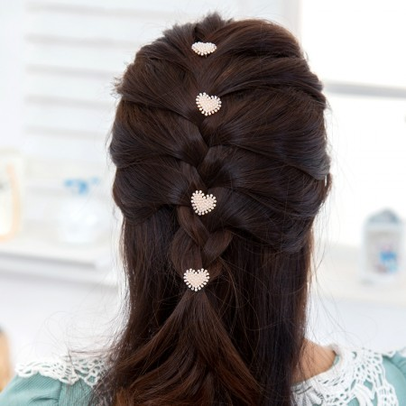 4pcs Lovely Charm Wedding Bridal Party Heart-Shaped Pearl Hair Pins Clips Grips Pins Hairpins Bridesmaid Clips
