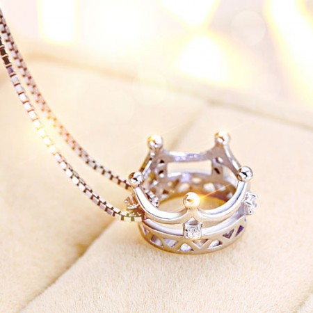 925 Sterling Silver Crown with Crystal Pendant Necklace