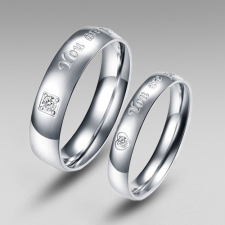 Romantic 'You Are Perfect In My Mind' Engraved Titanium Steel Couple Rings
