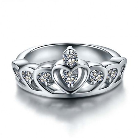 Charming Princess Crown-shaped 925 Sterling Silver Engagement Ring For Women