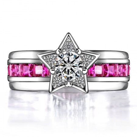 Exquisite Star-shaped 925 Sterling Silver CZ Inlaid Women's Ring