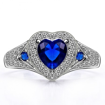 Shining 925 Sterling Silver Sapphire Blue Heart-shaped CZ Inlaid Engagement Ring