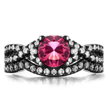 Round Pink Sapphire 4-Prong 925 Sterling Silver Black Engagement/Wedding Ring