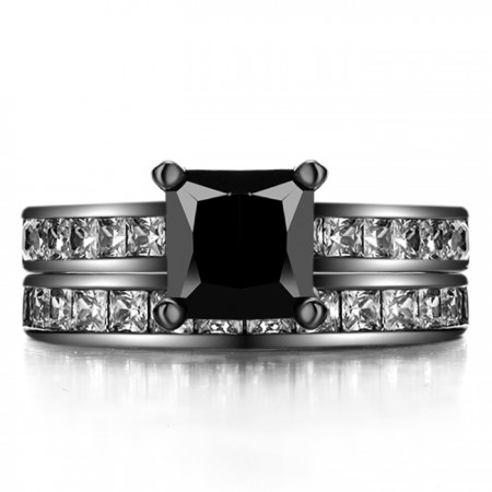 Princess Cut Black Sapphire 925 Sterling Silver Black Engagement/Wedding Ring Bridal Set