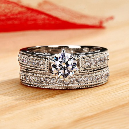 0.6 CT Perfect Cut 950 Sterling Silver Platinum Plated Engagement/Wedding Ring Bridal Set for Women