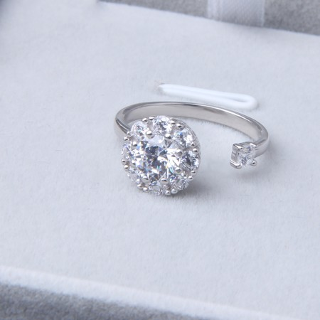 Rotatable 925 Sterling Silver Open Ring