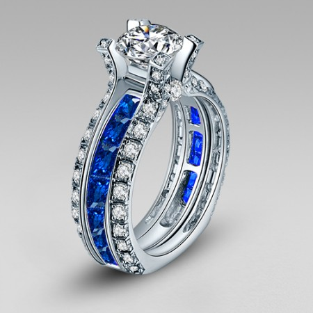 La Cathedrale Style Round Cut White and Blue Cubic Zirconia Women's Wedding Ring Set