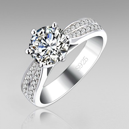 2.0 ct Round Cut Classical 6-prong Cubic Zirconia 925 Sterling Silver Wedding Ring for Women