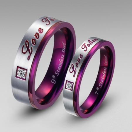 Purple Titanium Steel Couple Rings