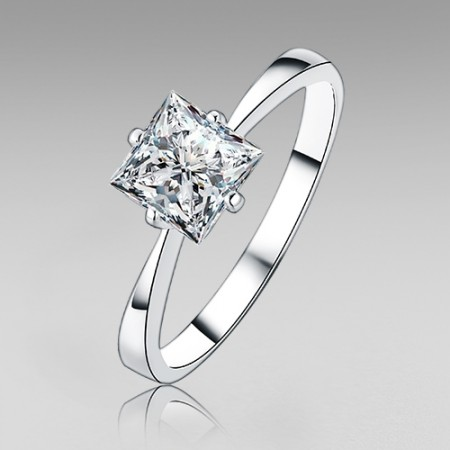 1.0CT Princess Cut Cubic Zirconia Engagement Ring for Women with 925 Sterling Silver 4-prong Style