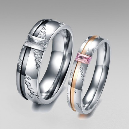 "Stainless Steel with Crystal ""Love you"" Couple Rings Band"
