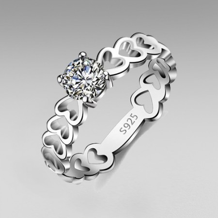 Hollow Heart Design 925 Sterling Silver Round Cut Cubic Zirconia Women's Ring/Wedding Ring