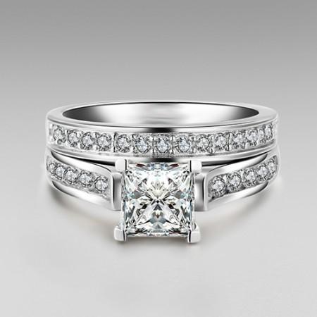 1.0 CT Brilliant Princess Cut 925 Sterling Silver Engagement/Wedding Ring Bridal Set