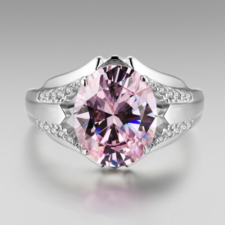 Oval Cut Pink Cubic Zirconia 925 Sterling Silver Platinum Plated Women's Ring
