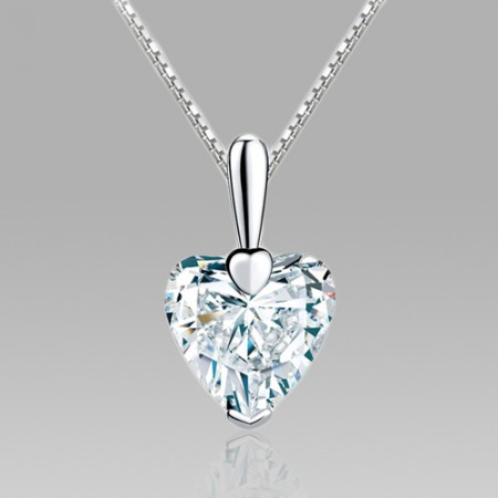Heart Cubic Zirconia 925 Sterling Silver Pendant Necklace for Women