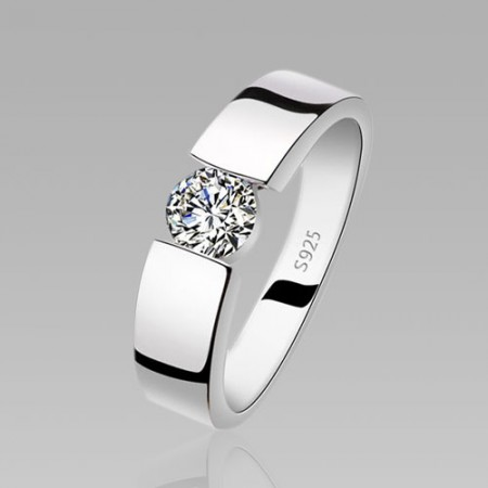 Cubic Zirconia 925 Sterling Silver Classic Men's Wedding Ring