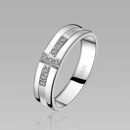 Cubic Zirconia Cross Design 925 Sterling Silver White Gold Plated Men's Ring