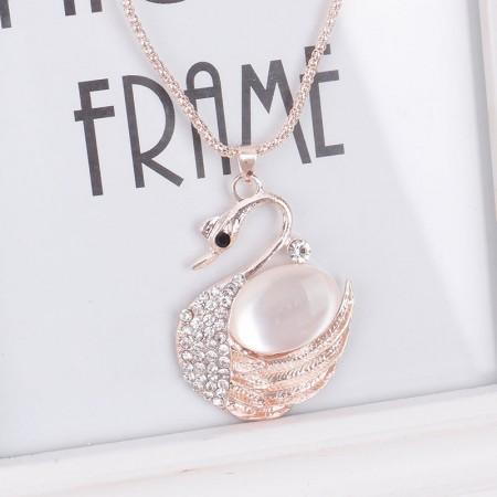 Cute Crystal Opal Diamond Swan Necklace