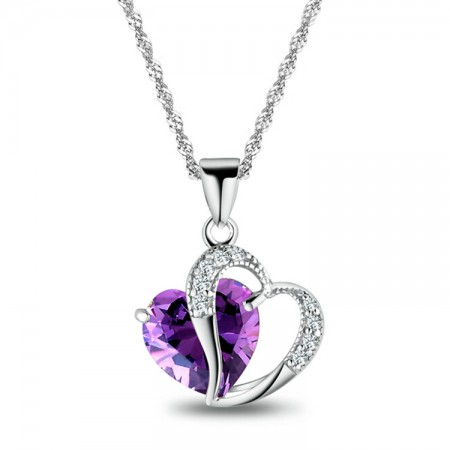 Natural Crystal Heart-Shaped Necklace