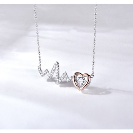 Valentine Gift Heart Beat S925 Sterling Silver Necklace