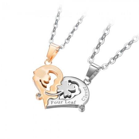 Unique Four Leaf Clover Matching Heart Necklaces For Couples In Titanium